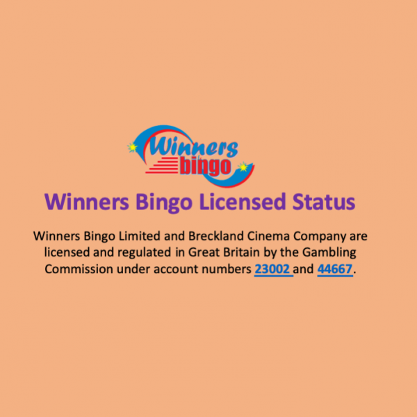 Winners Bingo Licensed Status